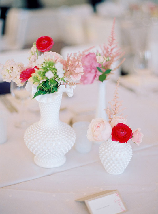 milk glass with florals