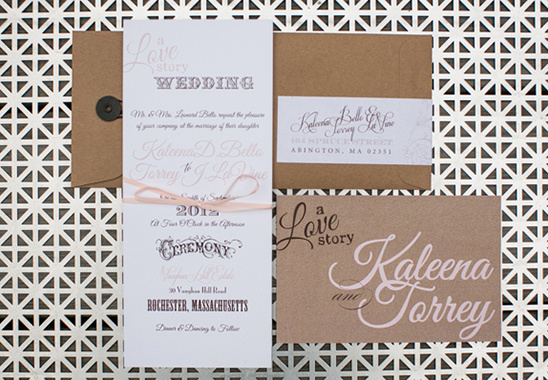 pink and gray wedding stationery