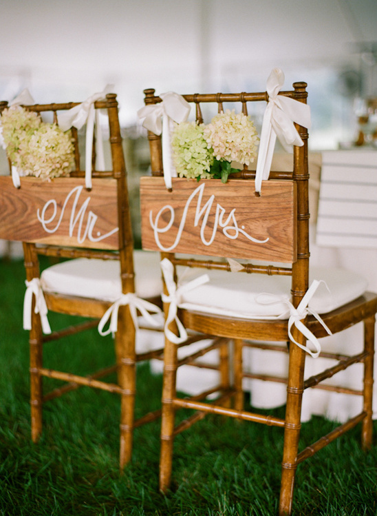 wooden Mr. and Mrs. seat signs