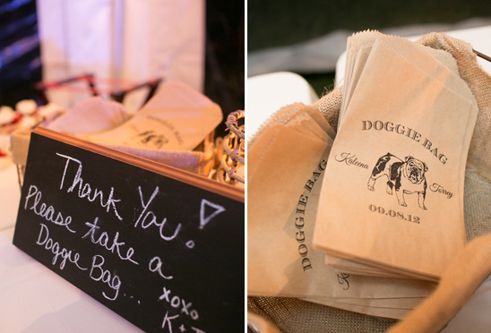 doggie bags at wedding reception