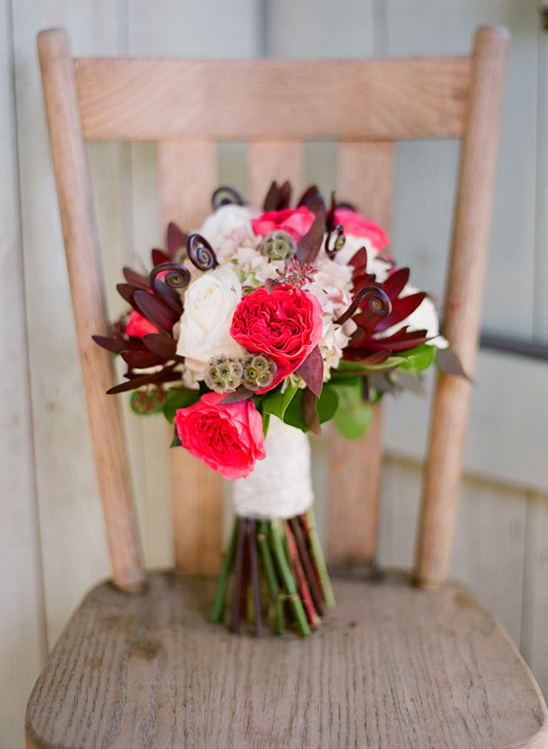 red and white wedding bouquet by The Enchanted Florist