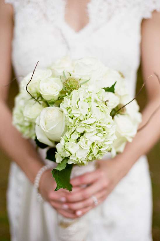 white wedding bouquet designed by Sand's Florist