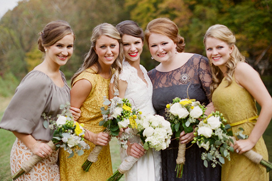 gray and yellow bridesmaid dresses