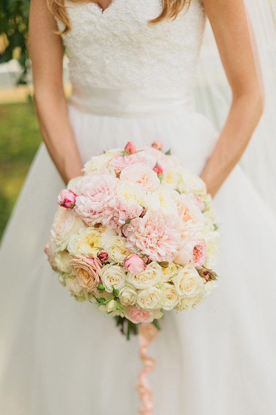 pink, peach and cream bridal bouquet by Bella Signature Design