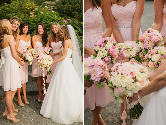 pink, peach and cream bouquets by Bella Signature Design