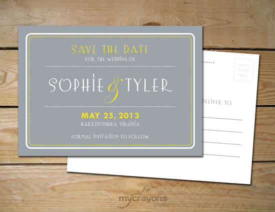 art deco inspired printable save the date postcard