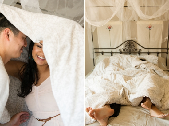 Bedroom engagement session by Sphynge Photography