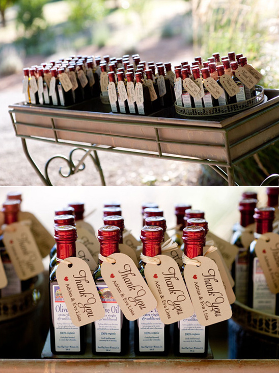olive oil wedding favors made by Bear Flag Farm