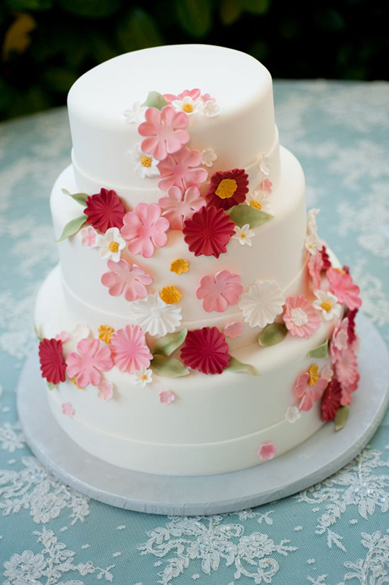 white and pink wedding cake by Freeport Bakery