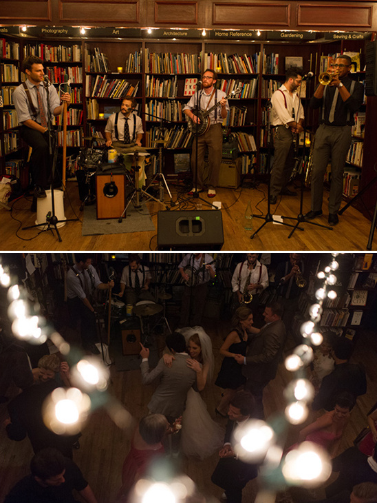 live band and bookstore wedding
