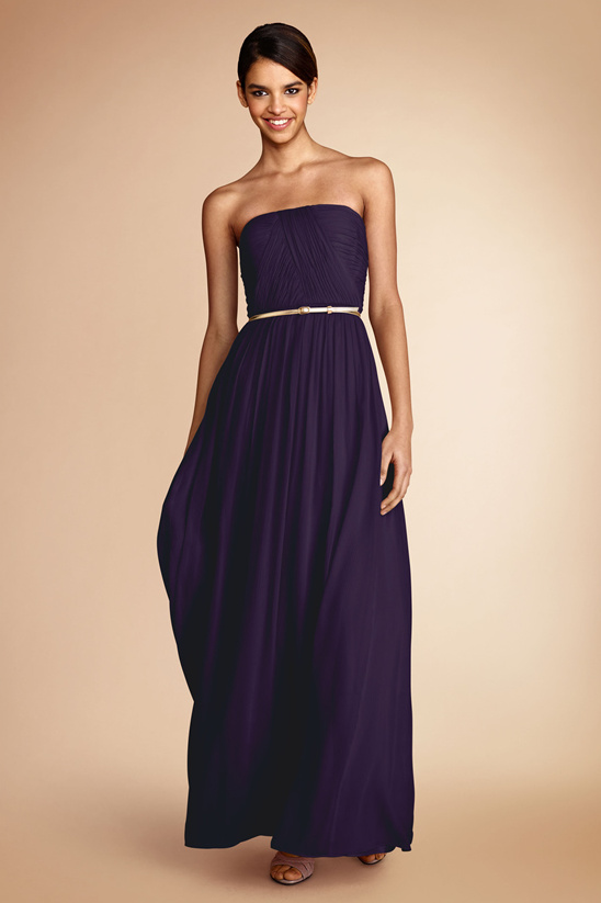 purple bridesmaid dress with gold belt