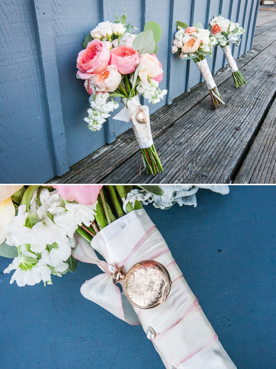 pink, peach, and white bouquets by La Belle Jardin