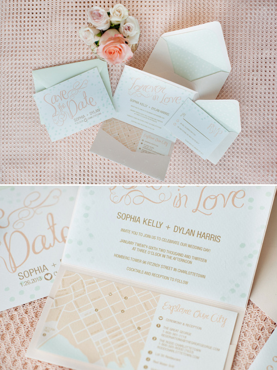 blog romantic mint peach gold wedding ideas