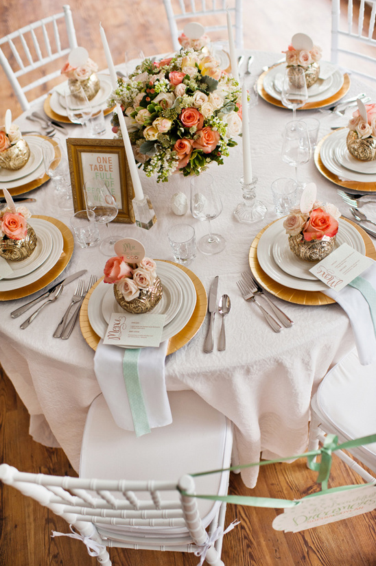 Romantic mint peach and gold wedding ideas peach and gold table decoration ideas junglespirit Gallery