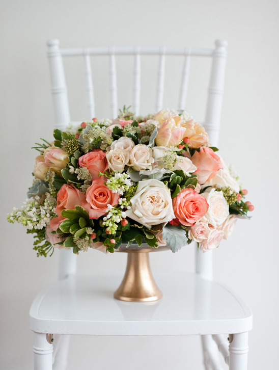 Romantic mint peach and gold wedding ideas peach wedding flowers junglespirit Images
