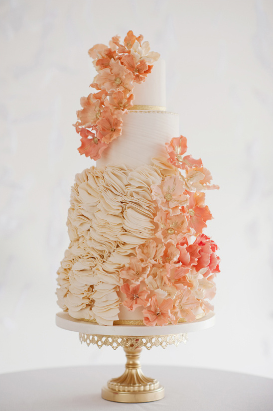 white peach and gold wedding cake mint and gold wedding ideas 27306