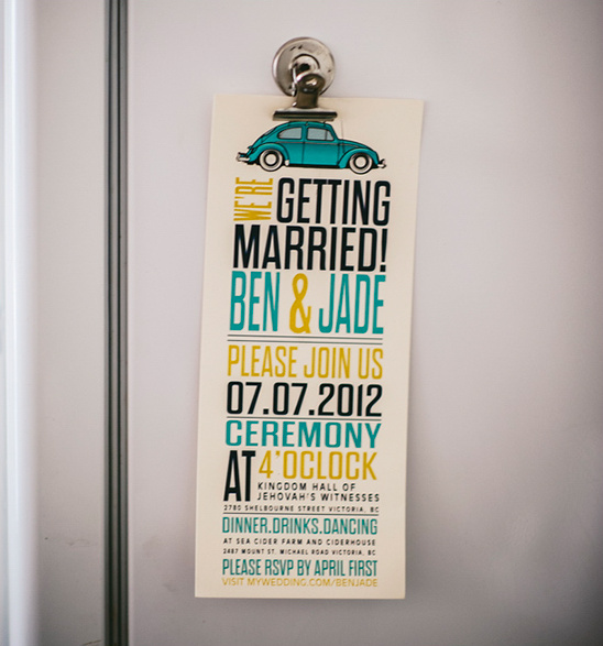 blue and yellow wedding invite by Wide Eyes Design