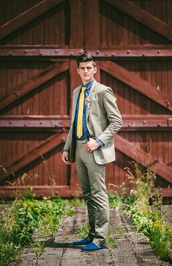 groom look from Studio Suits, Zara and Fox & Brie