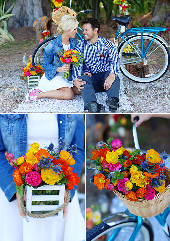 colorful floral pieces and vintage bicycle