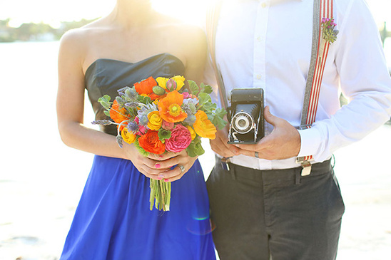 colorful bouquet and camera