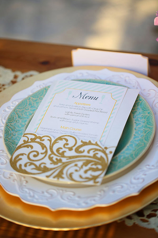 seafoam wedding menu