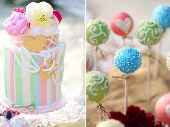 nautical cake and cake pops