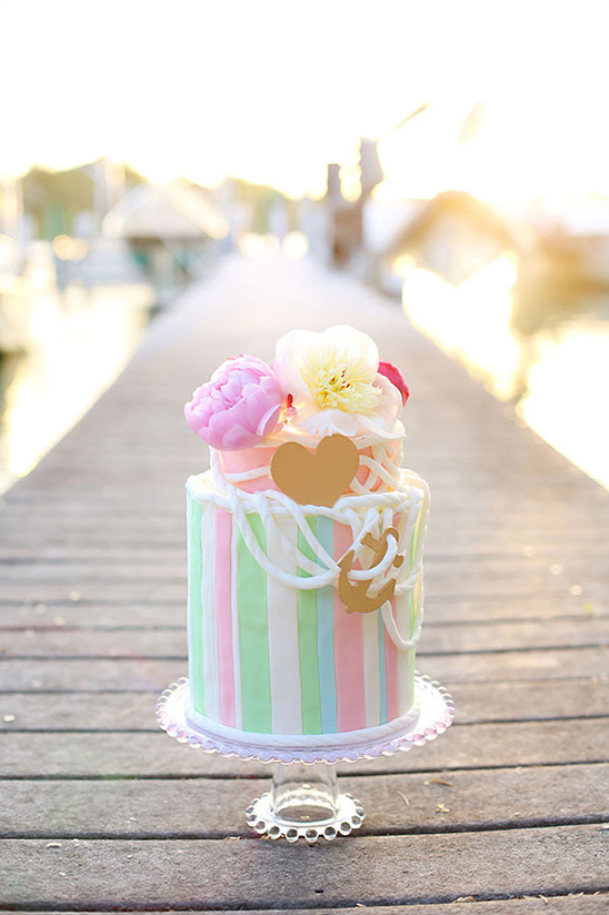 colorful nautical inspired wedding cake
