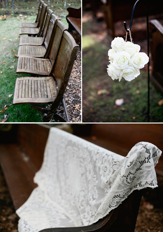 vintage outdoor ceremony seating provided by Juliane James Place