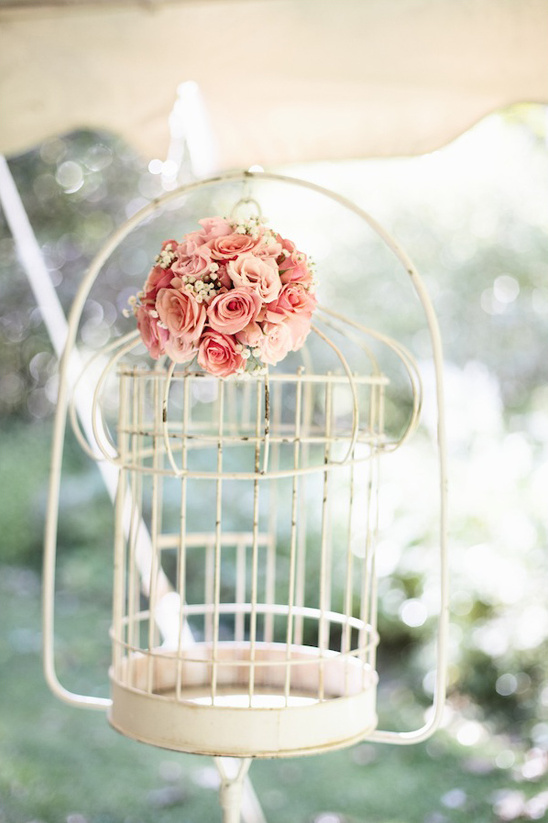 vintage birdcage used as decoration