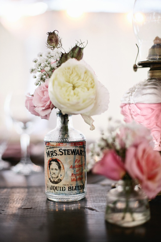 vintage bottle used as vase