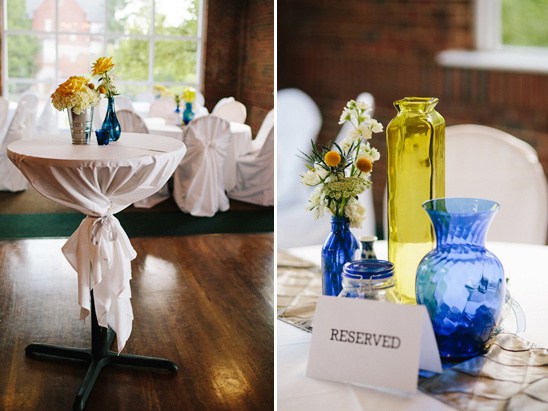 blue and yellow table decorations
