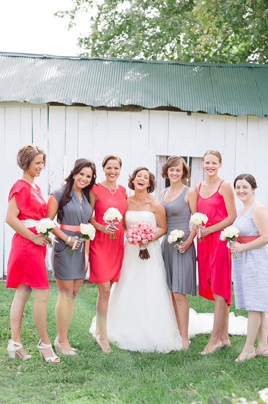 gray and red bridesmaid dresses