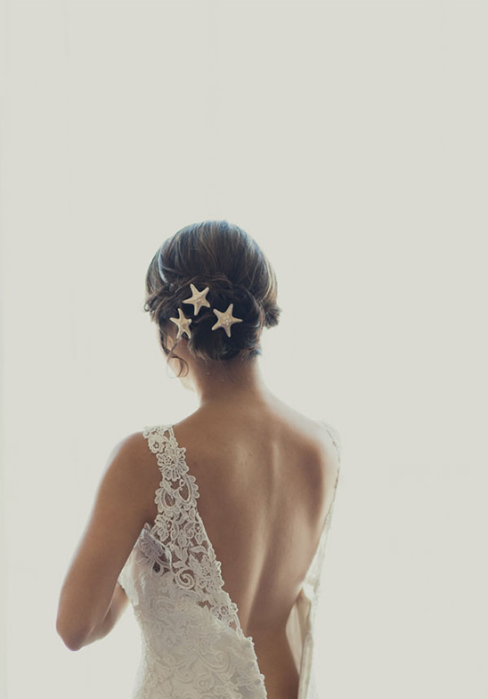 wedding hair with seashells