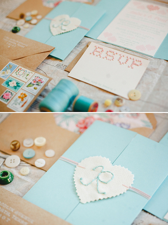 stitched wedding invites by Blue Eye Brown Eye