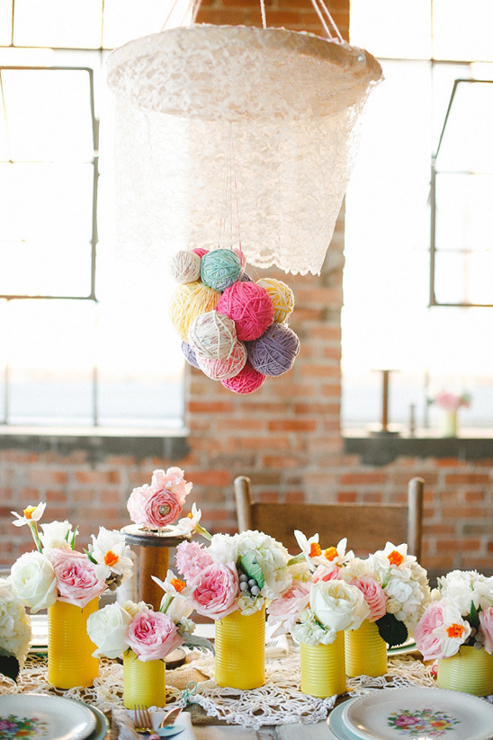 lace and yarn ball chandelier