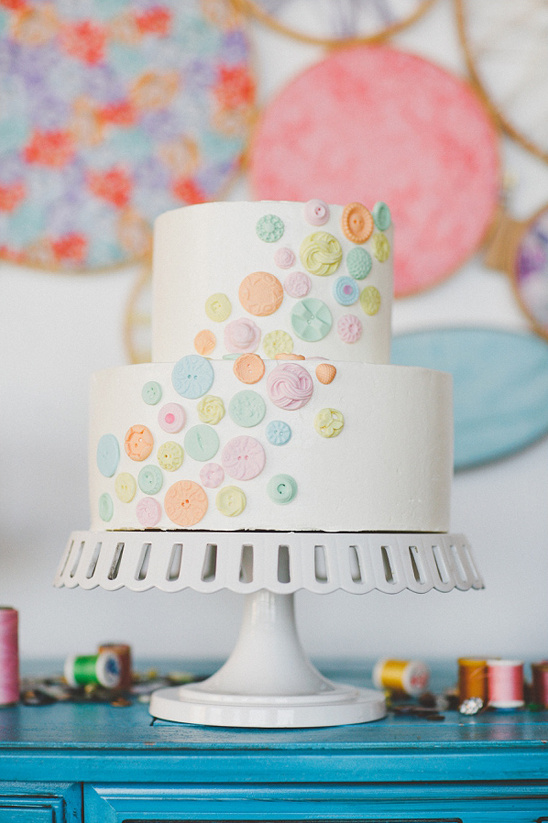button wedding cake by Cakewalk Bake Shop