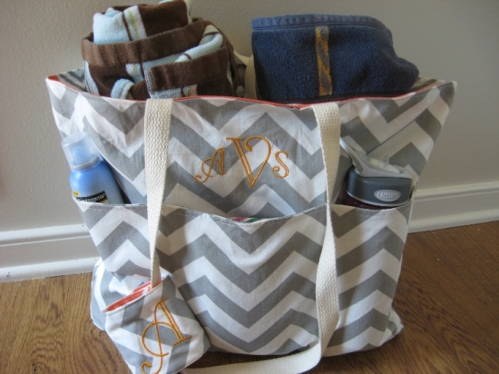 Monogrammed Reversible Beach Totes