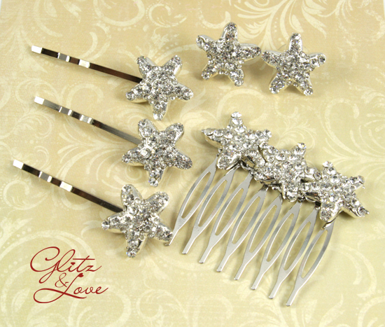 simple starfish earrings and hair accessories for beach wedding visit glitz love see link below to view the entire collection