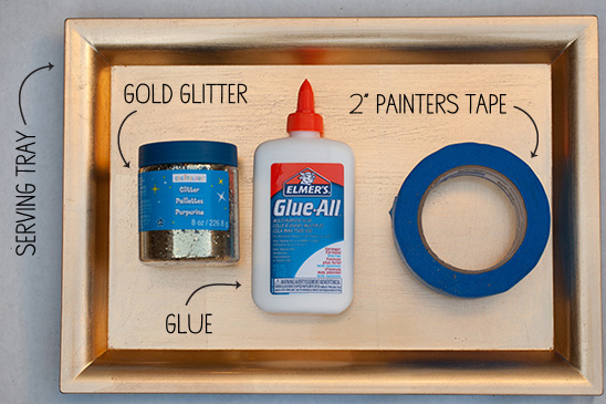 DIY Glittered Gold Serving Tray supplies