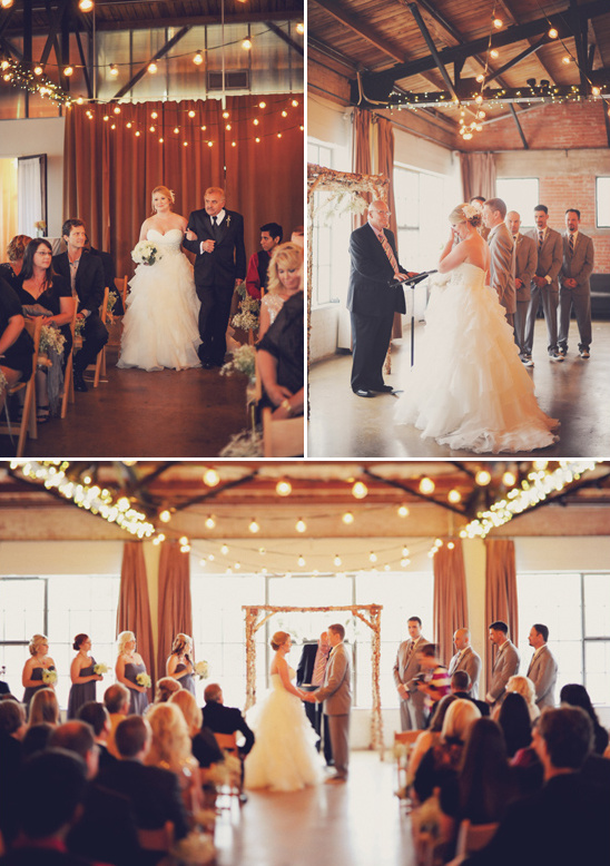 indoor wedding ceremony at Hickory Street Annex