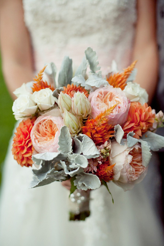 peach, pink and green wedding bouquet