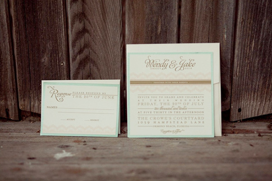 mint wedding invite by Jen Simpson Design