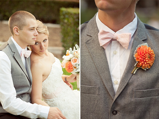 pink and gray groom looks