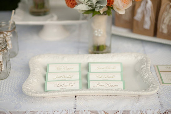 escort cards on a tray