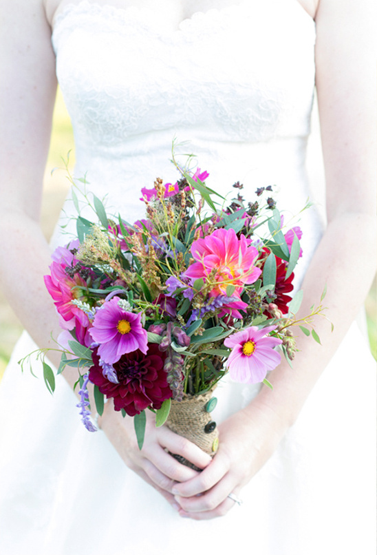 pink wedding bouquet by Singing Frog Farms