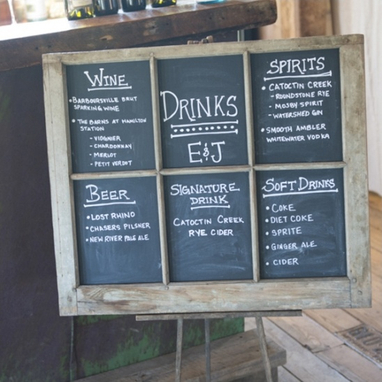 rustic chalkboard drinks menu sign