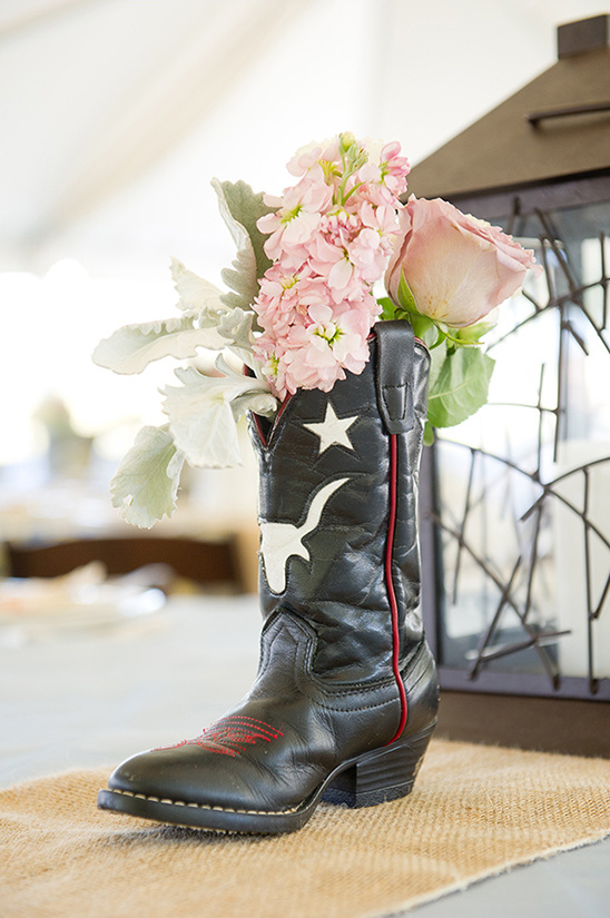 boots used and wedding centerpiece