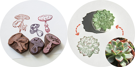 succulent and mushroom rubber stamps