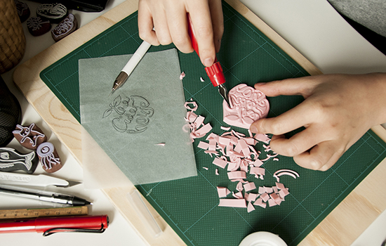 carving rubber stamps by hand
