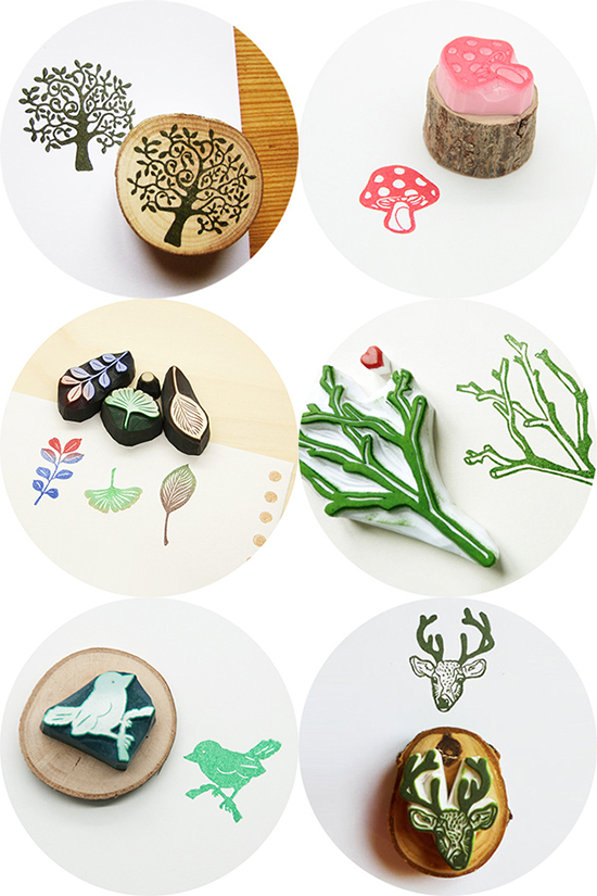 4-nature-handmade-rubber-stamps-for-wedding